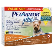 Pet Armor Plus for Dogs 4 - 22 lbs Pet Insect Treatment - 6 CT